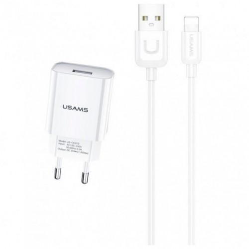 Зарядное устройство Usams 2.1A T21 Single USB + Lightning Cable (T21OCLN01)